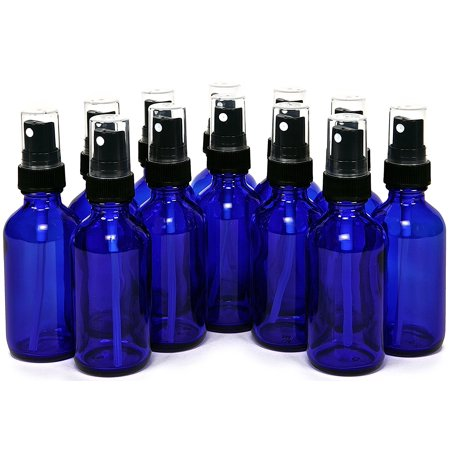 Vivalpex, 12, Cobalt Blue 2 oz Glass Bottles with Fine Mist Sprayers