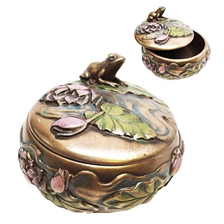 FROG ON LILY IN A POND SCULPTURE ROUND JEWELRY BOX - Gold Round Trinket Box