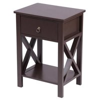 Brown Spray Paint Cross Type Single Suction Double Layer Nightstand 40 x 33 x 55
