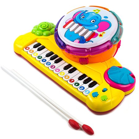 Toysery Multi-functional Educational Drum Toy Set for Kids with Two Drumsticks - Piano Toys for Toddler - Sparkling Lights & Music - Halloween Piano Sheet Music For Kids