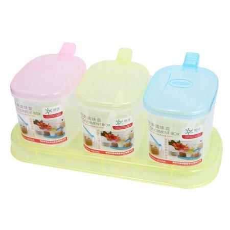 Unique Bargains Kitchen Colorful Sugar Salt Condiment Container Holder Dispenser Caddy -