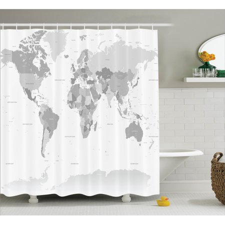 Gray shower curtain set detailed world map with all countries and gray shower curtain set detailed world map with all countries and major capital cities universe earth continents bathroom decor grey white by ambesonne gumiabroncs Gallery