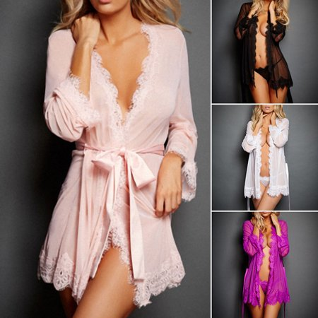 Urkutoba - Sexy V-Neck Babydoll Ladies See Through Bath Robes Sleepwear  Women with G-string Lace Sheer Night Dress Lingerie Robes - Walmart.com 246b08404