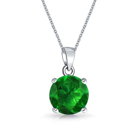 Emerald Cut Solitaire Pendant - 2CT Round Green AAA CZ Solitaire Pendant Necklace For Women For Teen Emerald Simulated 925 Sterling Silver