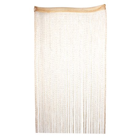 Sparkling Flat Ribbon Tassel Screen Divider String Curtain Champagne Color (Flat Leg Divider)