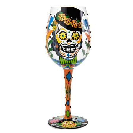 Lolita Sugar Skull Artisan Painted Wine Glass Gift