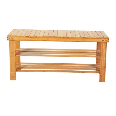 Ktaxon Shoe Rack Bench Bamboo Boot Organizer Seat Storage Entryway 100% Natural Bedroom ()