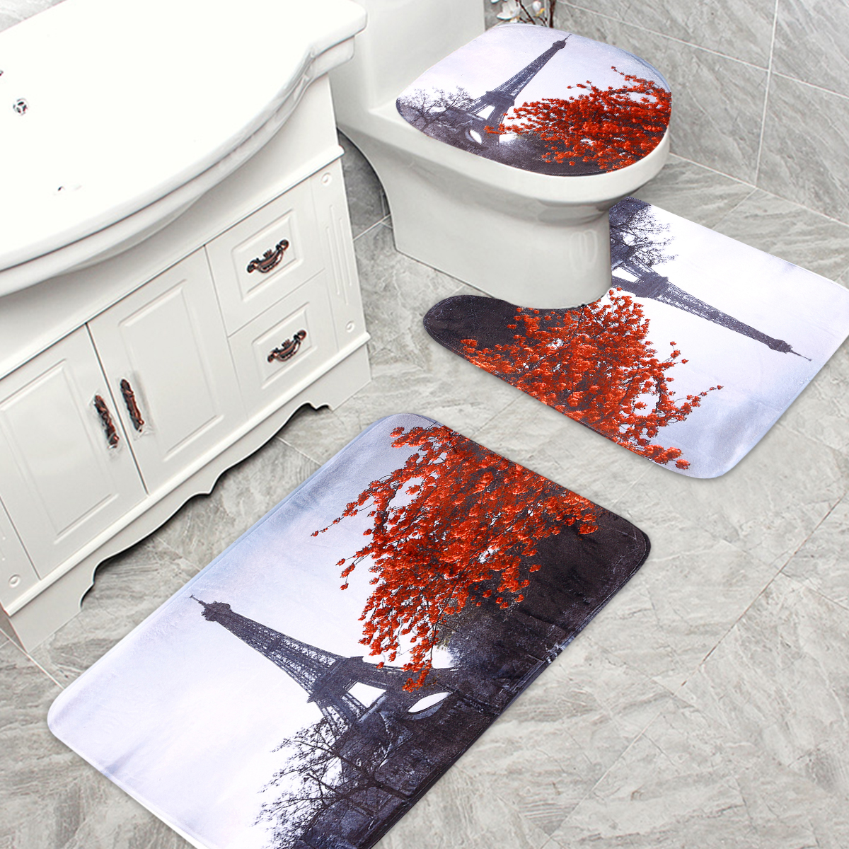 Bathroom Mat Carpet Set Anti Slip Floor Rugs Cushion Toilet Seat Cover Bath 3Pcs