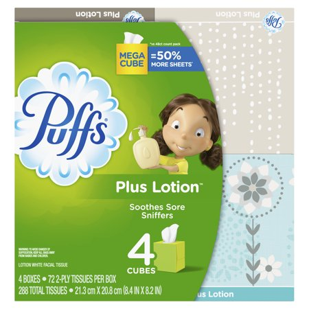 Puffs Plus Tissues (Puffs Plus Lotion Facial Tissue, 4 Mega Cubes, 72 Facial Tissues Per)