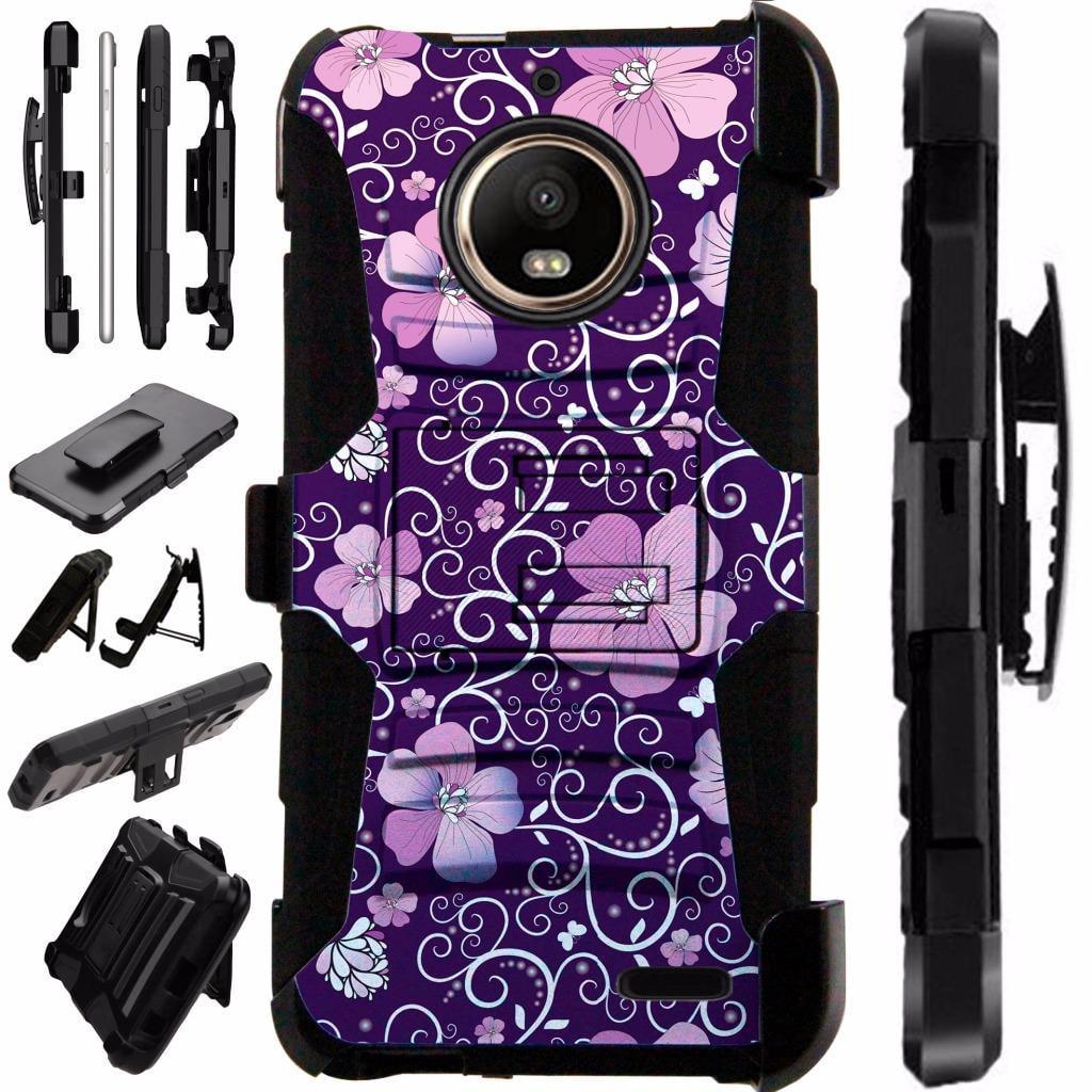 For Motorola Moto G6 Case Armor Hybrid Silicone Cover Stand LuxGuard Holster (Purple Vine Flower)