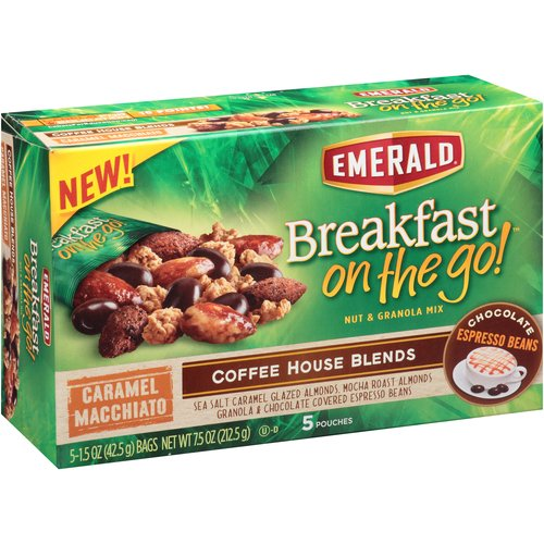 Emerald Breakfast on the Go! Caramel Macchiato Nut & Granola Mix, 1.5 oz, 5 count