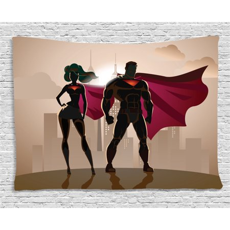 Superhero Tapestry, Super Woman and Man Heroes in City Fighting Crime Hot Couple in Costume, Wall Hanging for Bedroom Living Room Dorm Decor, 60W X 40L Inches, Beige Brown Magenta, by Ambesonne - Costumes For Couple