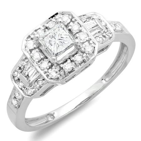 Dazzlingrock Collection 0.75 Carat (ctw) 14K Round & Baguette Diamond Engagement Bridal Ring 3/4 CT, White Gold, Size
