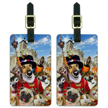 Tower of London England Britain Selfie Dogs Cats Luggage ID Tags Suitcase Carry-On Cards - Set of (Best London Fog Luggage)