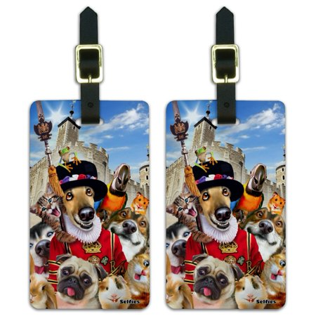 Tower of London England Britain Selfie Dogs Cats Luggage ID Tags Suitcase Carry-On Cards - Set of 2 (London Luggage)