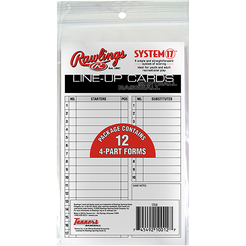 Rawlings Baseball Tee Ball/Baseball/Softball 4-Part Carbonless Lineup Cards 17LU