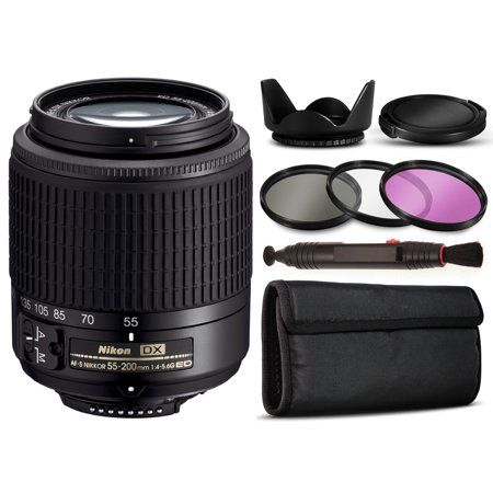 Basic Accessory Package - Nikon AF-S DX Zoom-NIKKOR 55-200mm f/4-5.6G ED Lens 2156 with Basic Accessories Bundle Package includes 3 Piece Filter K