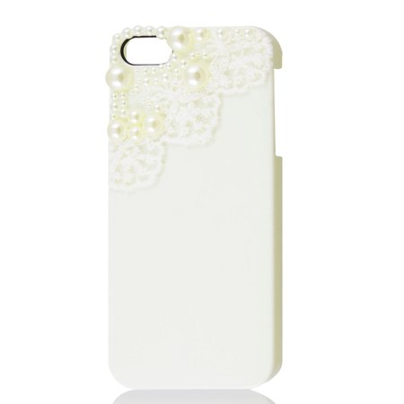 Unique Bargains Unique Bargains White 3D Laces Round Bead Hard Shell Back Cover Case for iPhone 5 5G 5th ()
