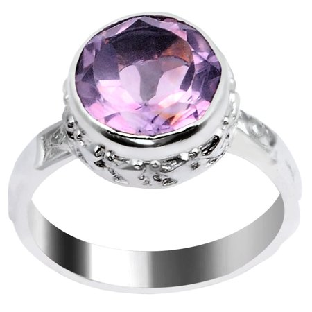 Orchid Jewelry Silver Plated Purple Amethyst Fashion Ring For Women + Free Jewelry Pouch