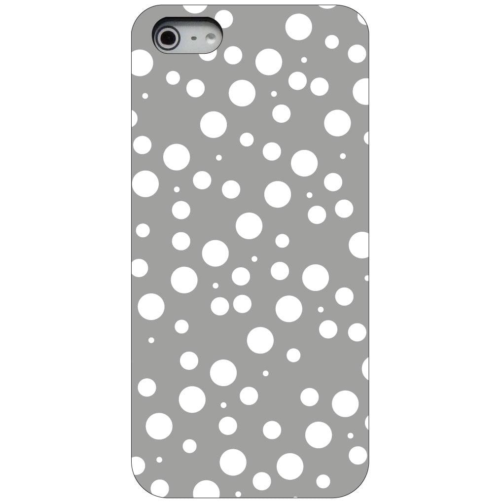 CUSTOM Black Hard Plastic Snap-On Case for Apple iPhone 5 / 5S / SE - Silver White Bubbles Polka Dots
