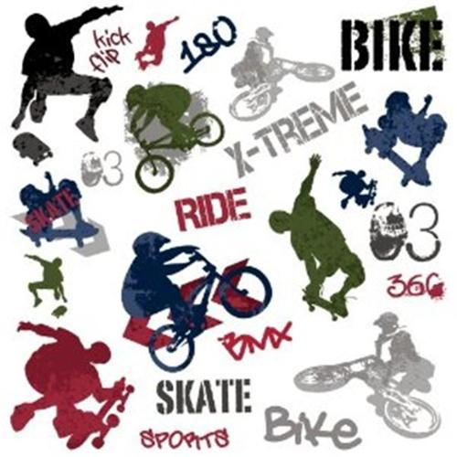 RoomMates RMK1690SCS Extreme Sports Peel & Stick Wall Decals