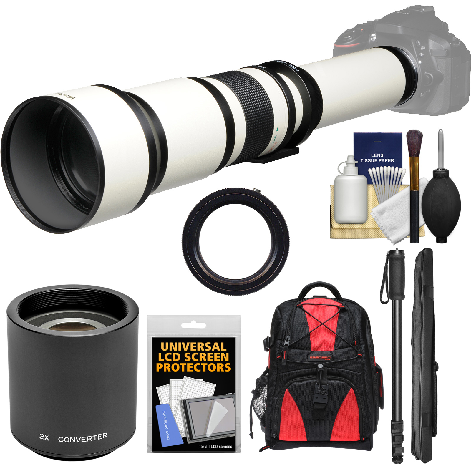 Vivitar 650 - 1300mm f / 8 - 16 Telephoto Lens (White) (T Mount) with 2x Teleconverter (=2600mm) + Monopod + Backpack + Kit for Nikon D3200, D3300, D5300, D5500, D7100, D7200, D610, D750, D810 Camera