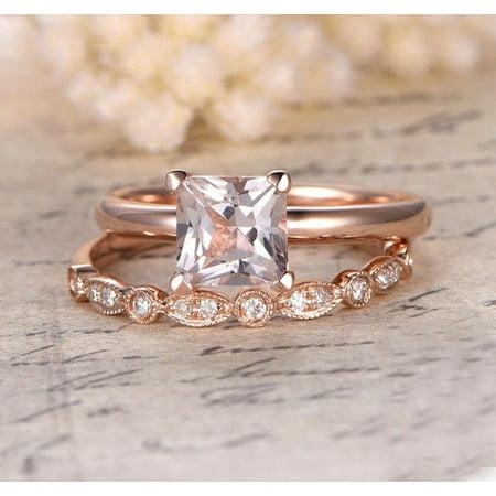 1.25 Carat Peach Pink Morganite (princess cut Morganite) and Diamond Engagement Bridal Wedding Ring Set in 10k Rose