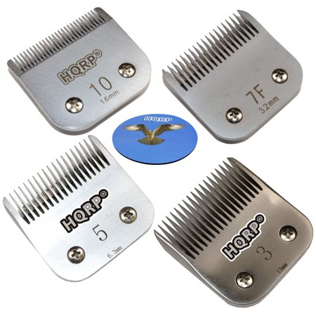 HQRP 4 pcs Universal Clipper Blades Set ( Size 10 / 7F / 5FC / 3 ) for Terrier Hair Cutting All Styles, Pet Grooming Clipping Trimming + HQRP Coaster