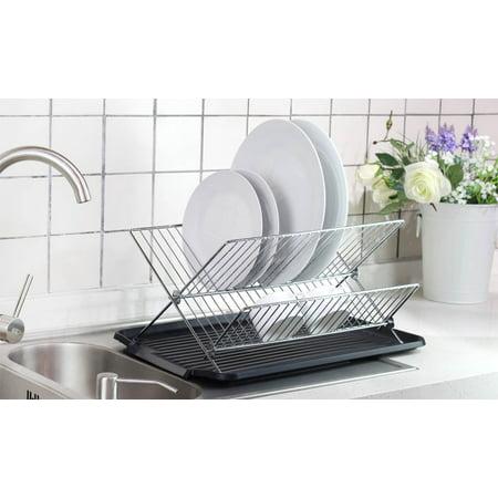 Neat-O Kitchen Foldable X Shape 2-tier Shelf Small Dish Drying Rack (Chrome Color) ()