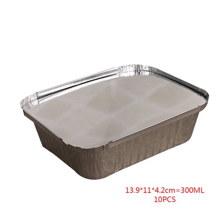 10pcs Rectangle Shaped Disposable Aluminum Foil Pan Take-out Food Containers with Aluminum Lids](Football Shaped Food)