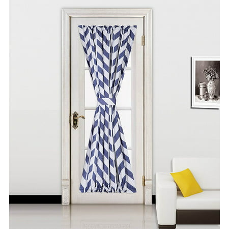 "( Zig Zag ) NAVY BLUE 1pc Printed 2 Tone Color STRIPE French Door Foam Backing Insulated Thermal Blackout Rod Pocket Curtain Panel with Tieback 55""W x 72""L"