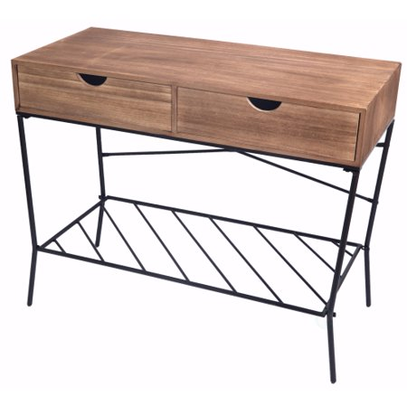 Wood and Metal Console Table with 2 Drawers and Storage Shelf ()
