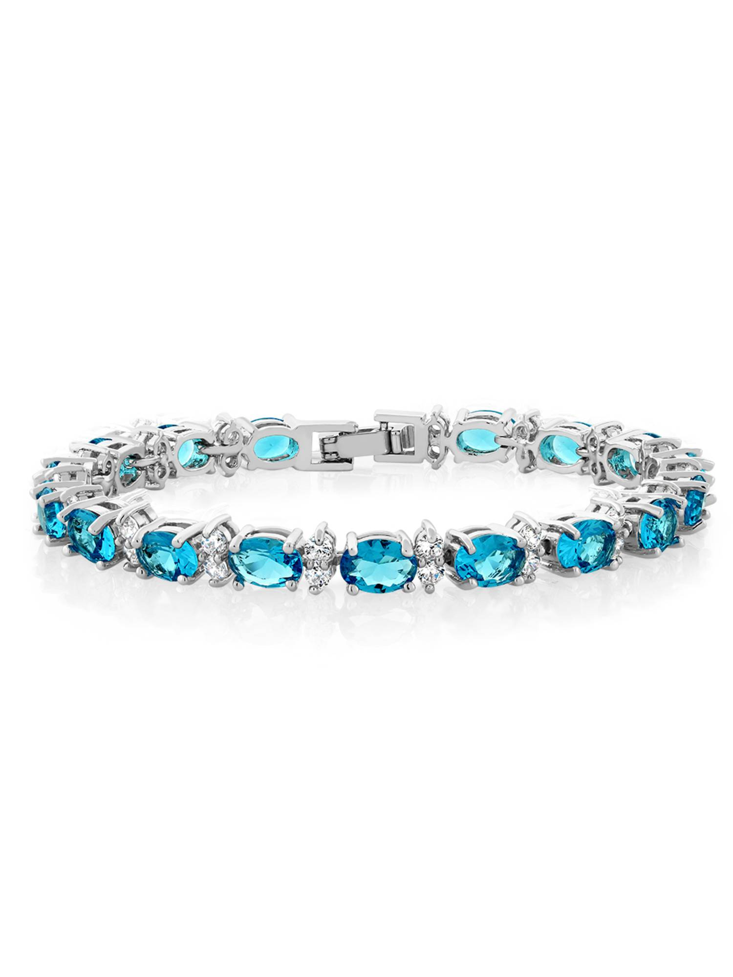 7 Inch Length Gem Stone King 2 Piece Round White Cubic Zirconia and Simulated Blue Sapphire Set of 2 Tennis Bracelets for Women 4.50 Ct Each