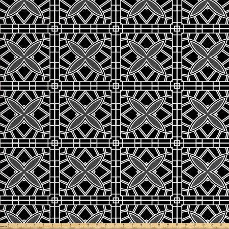 Geometric Fabric by The Yard, Retro Stripy Flooring Tile Design Composed by Chain Linked Squares, Decorative Fabric for Upholstery and Home Accents, by Ambesonne Accent Strip Tile Flooring