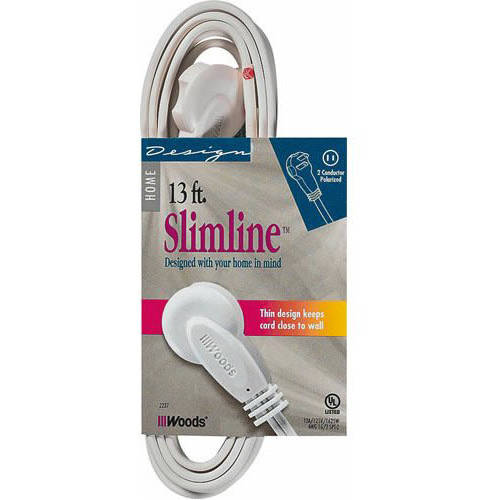 SlimLine 2237 Flat Plug Extension Cord, 2-Wire, White, 13-Foot