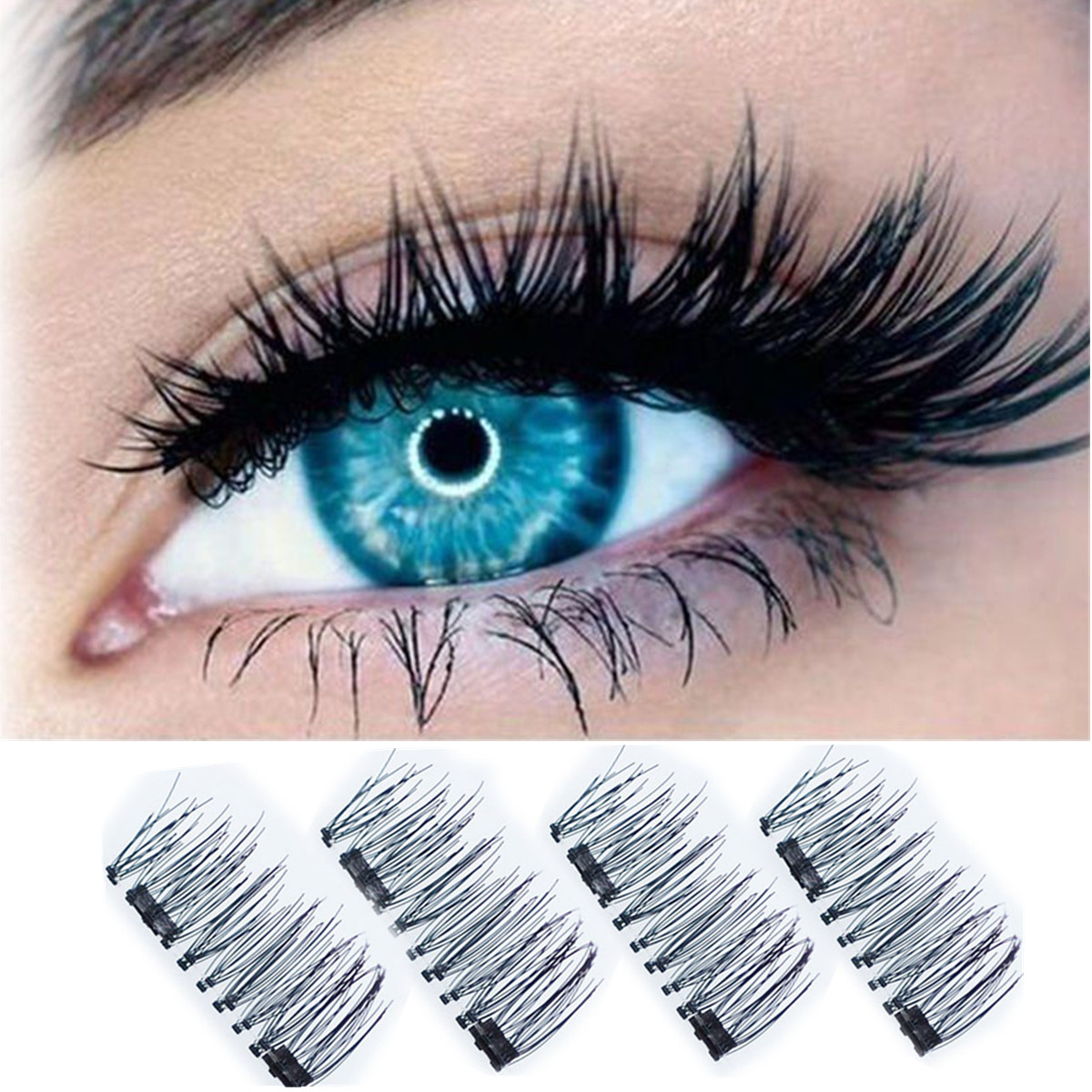 4PCS/2 Pairs 3D Double Magnetic False Eyelashes Reusable Magnet Eye lashes Extension, no glue needed