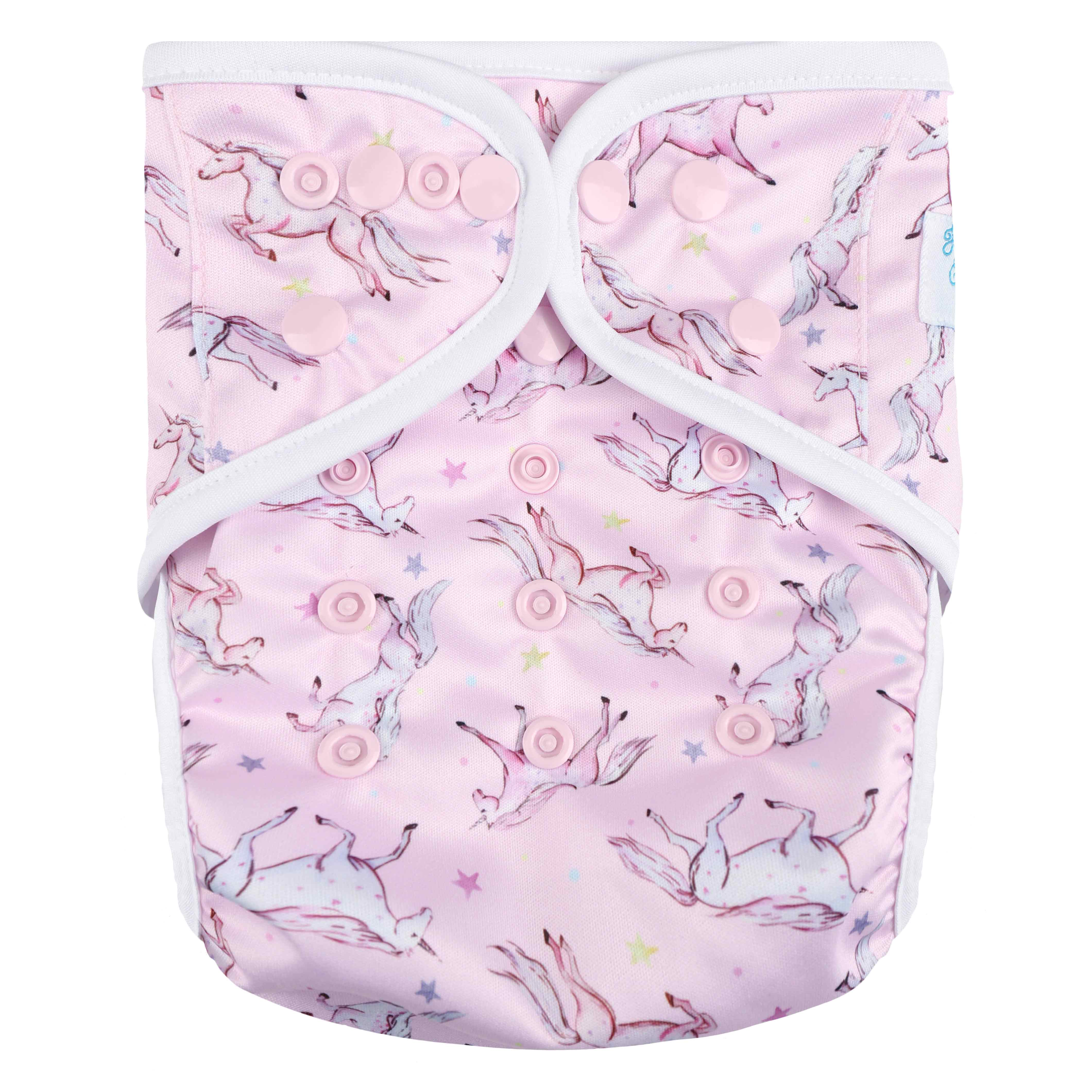 "HappyEndings One Size Cloth Diaper Cover AI2 System ""Unicorns"""