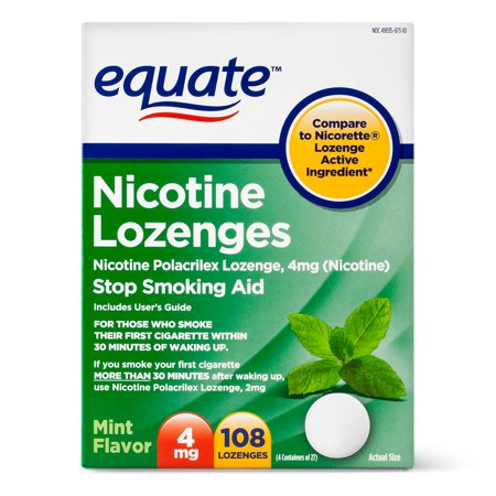 Equate Nicotine Lozenges, Mint Flavor, 4 mg, 108 Count