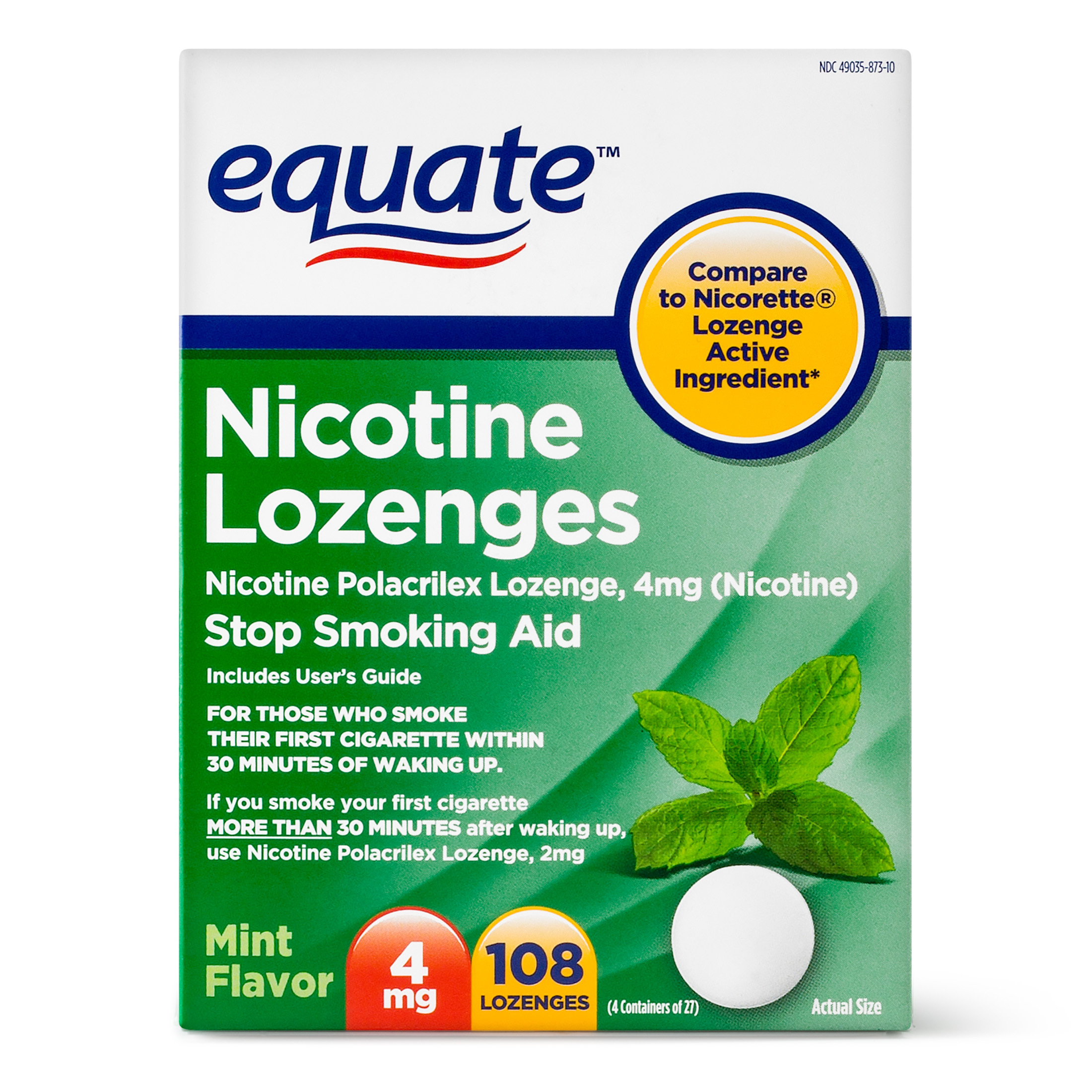 Equate Nicotine Lozenges Stop Smoking Aid Mint Flavor, 4 mg, 108 Ct