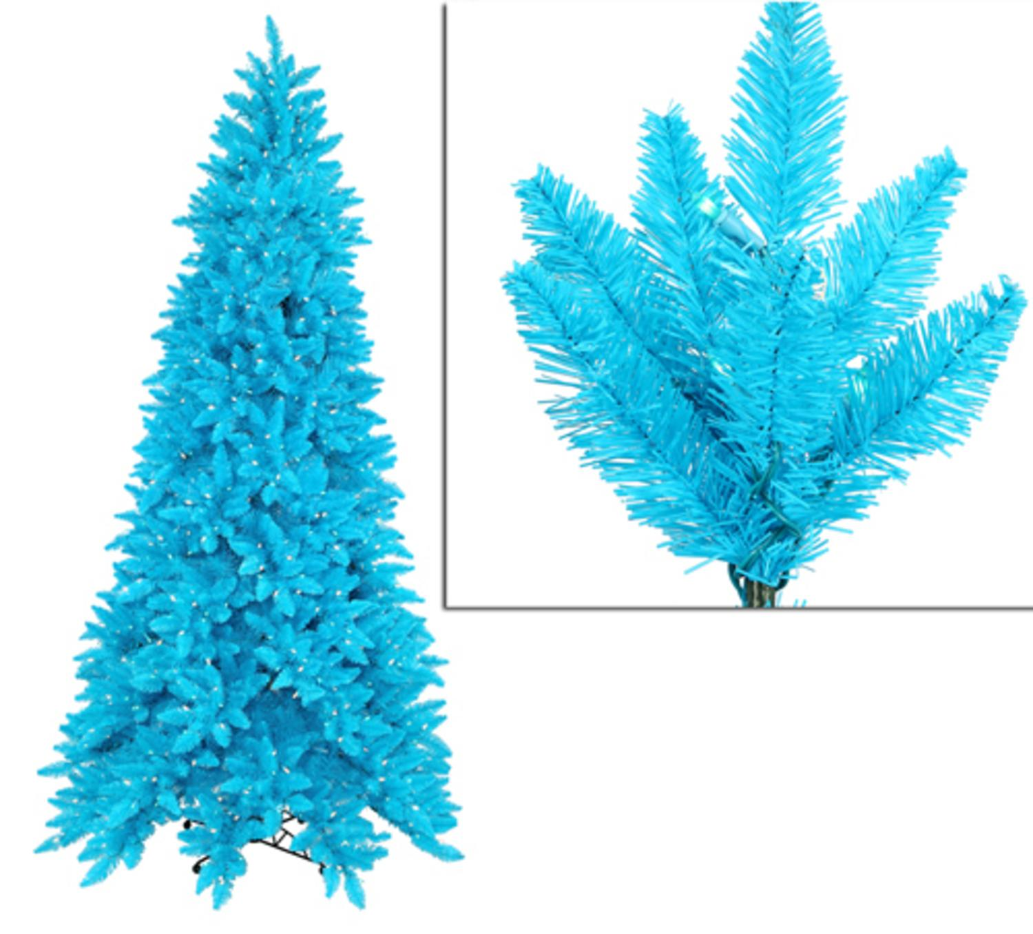 12' Pre-Lit Slim Sky Blue Ashley Spruce Christmas Tree - Clear & Blue Lights
