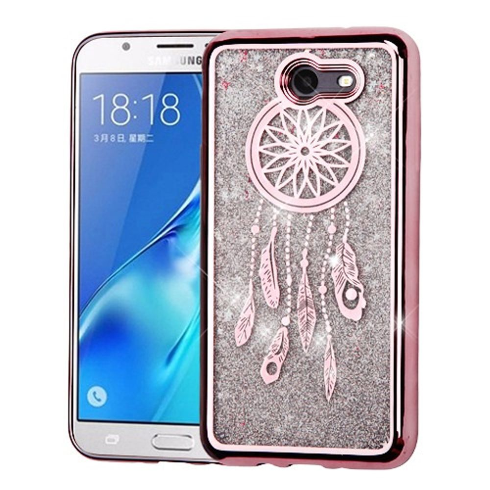 Galaxy J7 Sky Pro phone case by Insten Dreamcatcher Quicksand Glitter Hybrid Case For Galaxy J7 (2017)/J7 Perx/J7 Prime/J7 Sky Pro - Rose Gold/Silver (Bundle with Micro USB Cable)