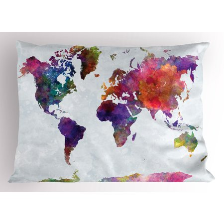 African Pillowcase - Watercolor Pillow Sham Multicolored Hand Drawn World Map Asia Europe Africa America Geography Print, Decorative Standard Size Printed Pillowcase, 26 X 20 Inches, Multicolor, by Ambesonne