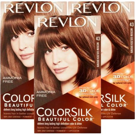 (3 Pack) Revlon Colorsilk Beautiful Color Permanent Hair Color, Medium Golden Brown,