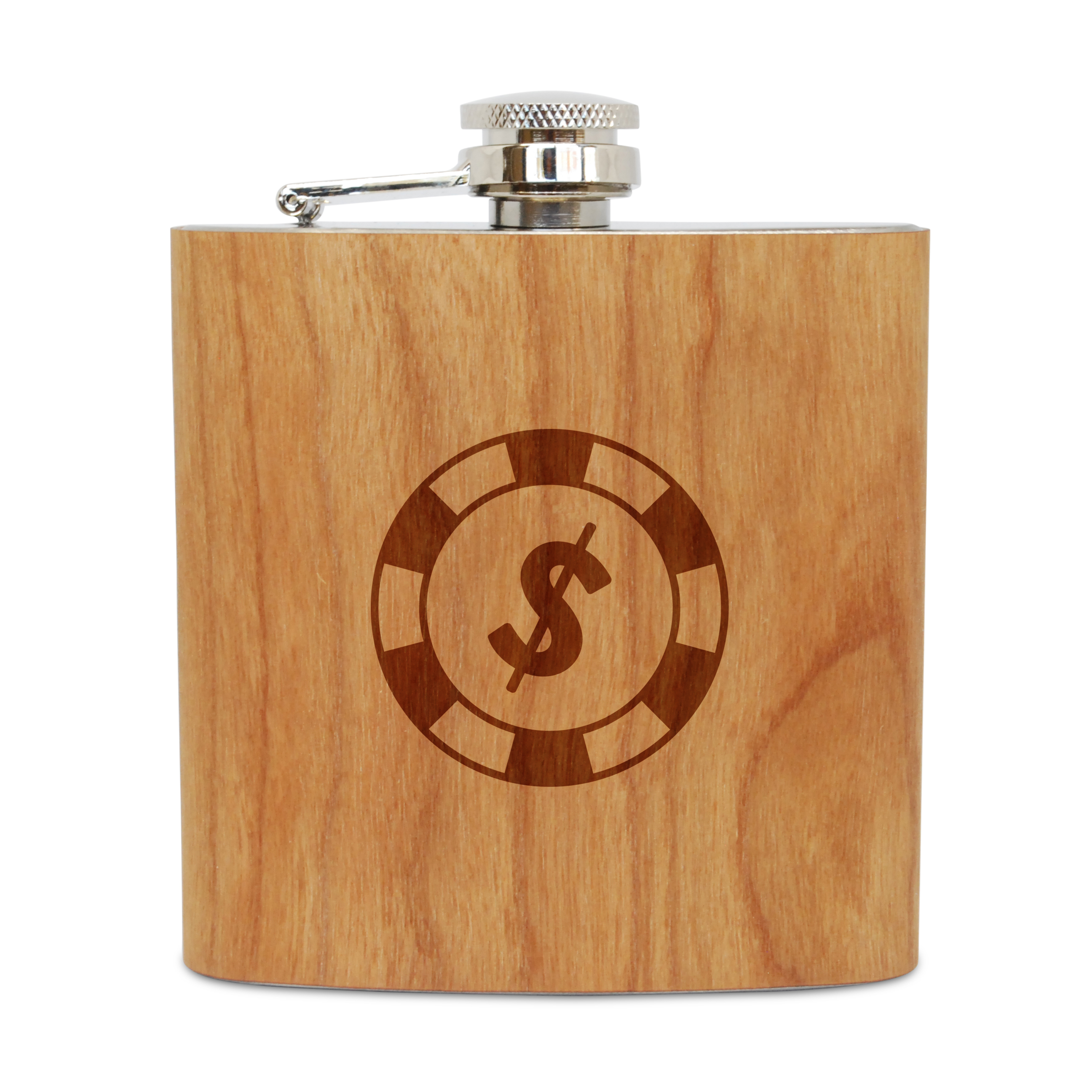 Poker Chip 6 Oz Wooden Flask (Cherry), Stainless Steel Body, Handmade In Usa by BigSpool Distributors