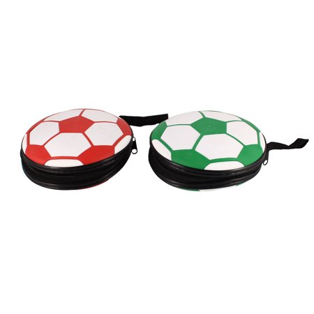 Red White Football Pattern Zippered 24 Slots Disc CD DVD Holder Case Bag