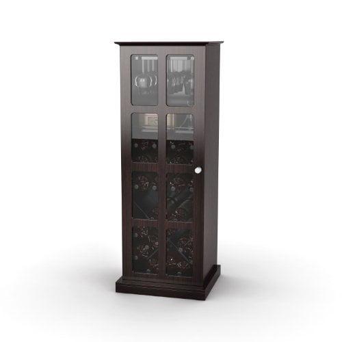 Atlantic 94835842 Windowpane 24 Wine Cabinet, Espresso by