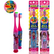 Barbie Everytime Fun Toothbrush Set, 2 Count - Soft Bristle Manual Toothbrush with Mix n Match Handle Grip for Kids Girls Toddler