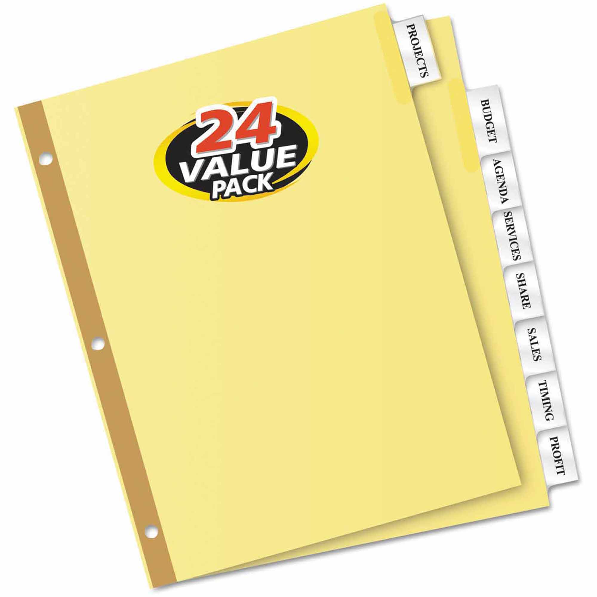 Avery WorkSaver Insertable Tab Index Dividers, 8-Tab, Clear, 24-Pack