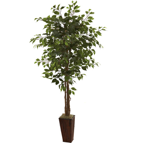 Nearly Natural 6' Ficus Tree with Bamboo Planter