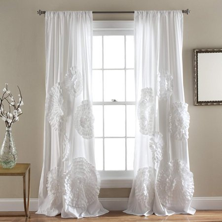 1PC Floral Ruffled Window Curtain Panel Window Treatment Crushed Sheer Fully Stitched with Rod Pocket in 54